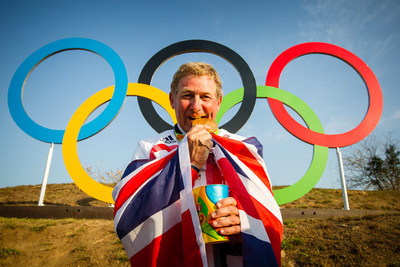 Nick Skelton (GBR) celebrates his gold medal win following a stunning performance at the Deodoro Equestrian Park claiming the Olympic Individual title at the Rio 2016 Games with Big Star.