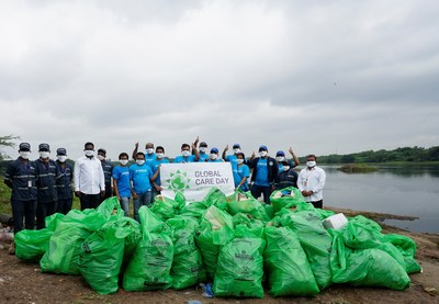 As part of LyondellBasell's 22nd annual Global Care Day, volunteers in Pune, India cleaned-up plastic waste with the Swachh Pune -Swachh Bharat group around the Mula-Mutha River. The plastic waste accumulated near the river after the monsoon in July.
